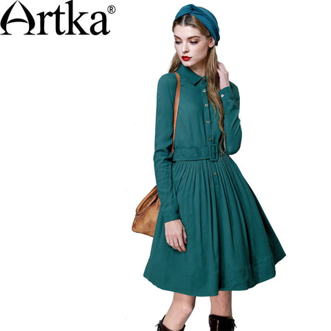 Artka Women's Autumn New 2 Colors Comfy A-Line Dress Vintage Turn-down Collar Long Sleeve Wide Hem Dress With Sashes LA10252Q - Alternative Measures