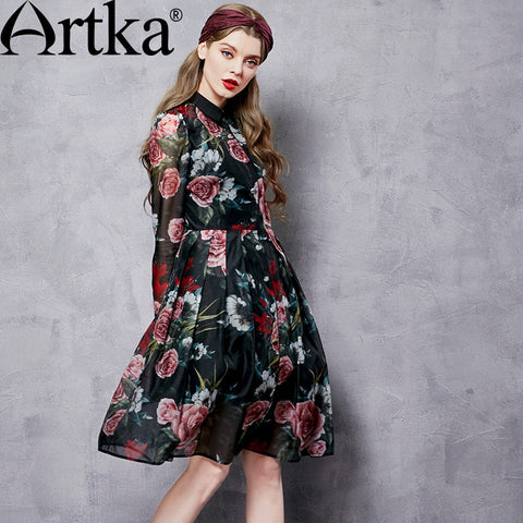 Artka Women's Autumn New Floral Printed Dress Vintage Peter Pan Collar Long Sleeve Empire Waist Wide Hem Dress LA10567Q - Alternative Measures