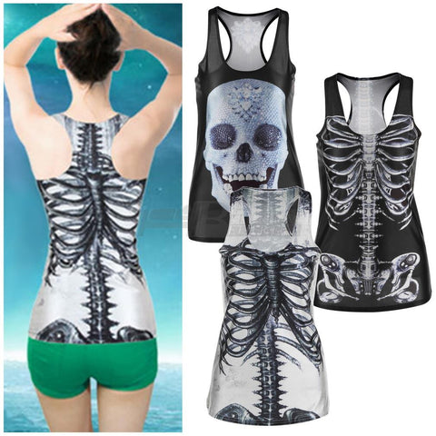 1pcs 3D Summer Sexy Womens vintage Printed Skeleton Skull Tank Tops Gothic Punk Clubwear Punk T-Shirt - Alternative Measures