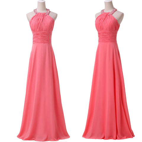 ! Grace Karin Real sample 2014 Watermelon Halter Ball Formal Gowns Evening wedding Long Party Prom Dresses CL6028 - BRIDESMAID DRESSES BRIDAL GOWNS PROM - Alternative Measures