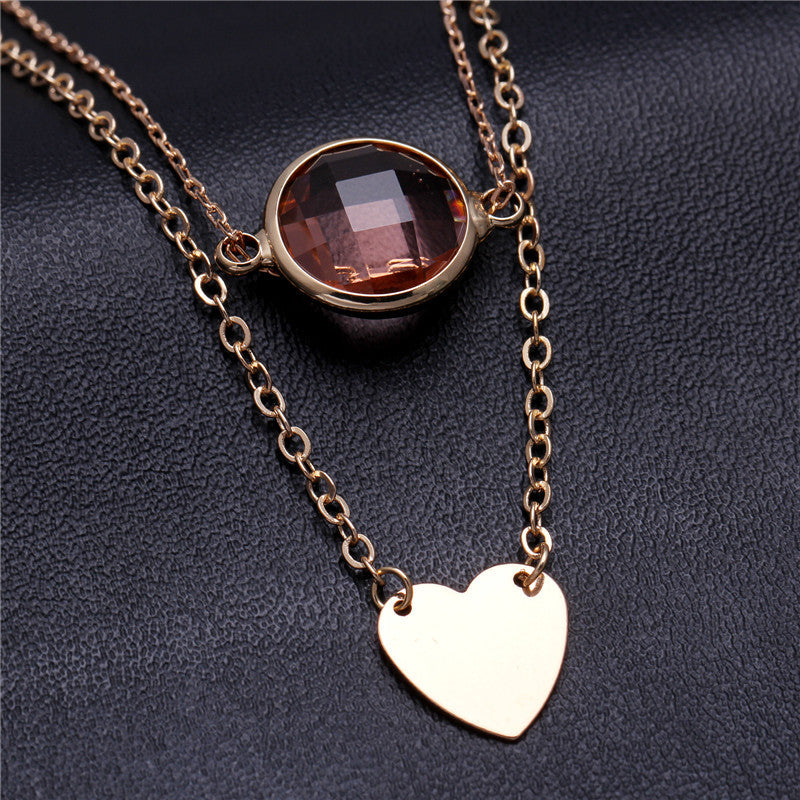 2015 New Style Simple Design 18K Gold Crystal Necklaces Chain ...