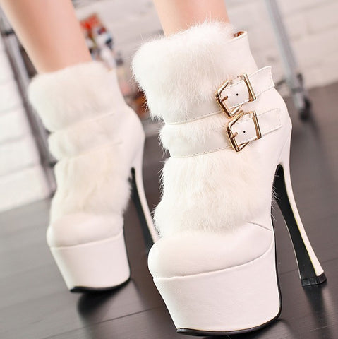 2013 latest design sexy stiletto heels naked boots suede and rabbit pin drop shipping PU leather platform boots shoes Round - Alternative Measures
