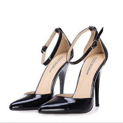 12 cm super high heels with shallow thin mouth pointed single shoes Hollow out bag and sandals sexy dress paint big yards - Alternative Measures