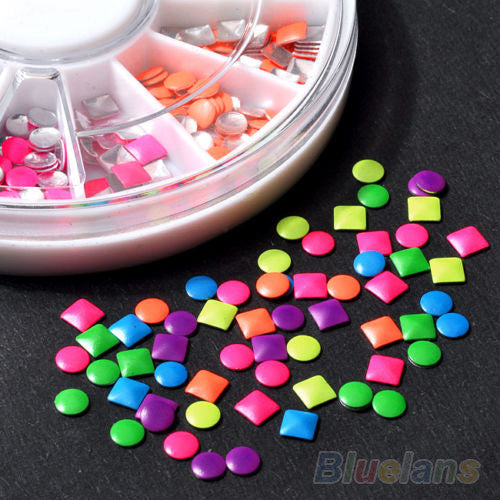 1000pcs 6 Colors Stud Nail Art 3D DIY Design Decoration Stickers Metallic Studs - Alternative Measures