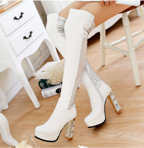 2015 New Arrivals Glitte Women Winter Knee High Boots Sexy Thick High Heels Fashion Round Toe Platform Over The Knee Boots - Alternative Measures