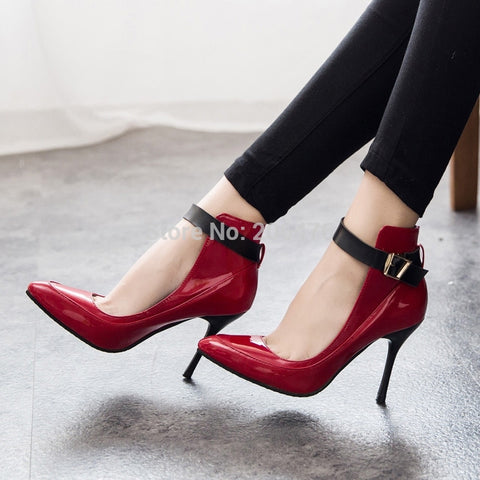 2 Colors Fashion Women Pumps Sexy Red Bottom Pointed Toe High Heels Shoes Woman 2015 Brand New Design Work Party Shoes - Alternative Measures