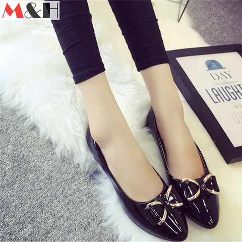 2016 New Arrive Spring Summer Elegant Flats Pointed Toe Leather Peas Shoes Womens Patent Leather Loafers Casual Slip on Bowtie - Alternative Measures