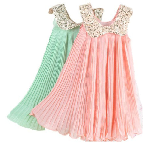 ! Summer Girls Pleated Chiffon One-Piece Dress With Paillette Collar Children Colthes For Kids Baby, Pink/Green Alternative Measures - Brides & Bridesmaids - Wedding, Bridal, Prom, Formal Gown - Alternative Measures