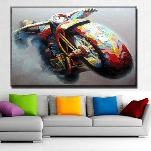 100%Handpainted Abstract Oil Painting Wall Art on Canvas for Home Decoration 1pc cool Motorcycle Racer As The Best Gift - Alternative Measures