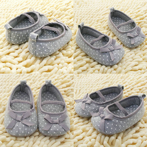 0-18M Nice Toddler Baby Girls Cotton Bowknot Dot Shoes Flats Gray Shoes New - Alternative Measures