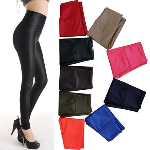 2013 Autumn Winter New Fashion Sexy High Waist Leather Elastic Pants European Style Tight Stretch Women Trousers Pants & Capris - Alternative Measures