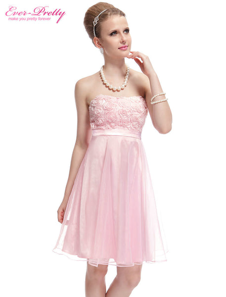 03979 New Strapless Girl's Cute Pink Flower Padded Short Homecoming Dress Party Dresses Alternative Measures - Brides & Bridesmaids - Wedding, Bridal, Prom, Formal Gown - Alternative Measures