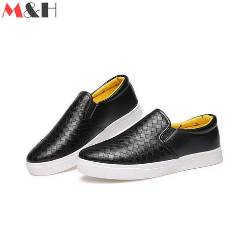 2016 Casual Fashion PU Mens Checkered Shoes Breathable Shoes Men Lazy Loafers Slip on Leather Sapatos Homens Zapatos Flats Solid - Alternative Measures