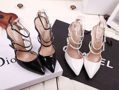 2015 New Summer Style women's high heels Pointed Toe Bandage Lace Up Stiletto sandals celebrity ladies shoes Pumps Black White - Alternative Measures