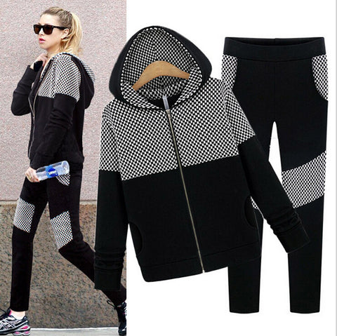 2015 Spring European Style Sweater Suit Large Size Women Fashion Casual Motion Hooded Cardigan Top+Long Pants Set - Alternative Measures