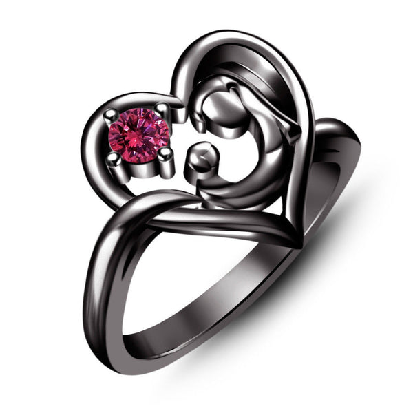 1.00 ct Pink Sapphire Black Rhodium Over Black Gold Filled Mom Heart Ring, New Fashion Mother Gift Ring Alternative Measures - Alternative Measures