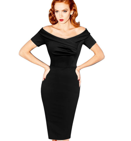2015 New Fashion Womens Summer Vintage Pinup Rockabilly Black Off Shoulder Ruched Party Cocktail Sheath Wiggle Dress Alternative Measures - Brides & Bridesmaids - Wedding, Bridal, Prom, Formal Gown - Alternative Measures