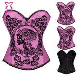 """Eternal Love"" Pink Cotton Floral and Skull Burlesque Corset Sexy Korsett For Women Crop Top Bustier Femme Gothic Clothing Korse - Alternative Measures"