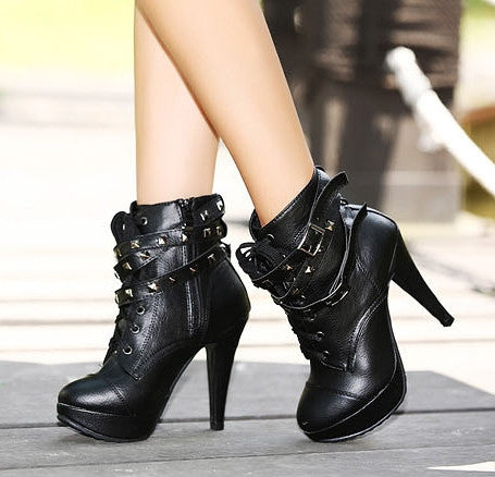 2014 New  Platform Pumps Rivet Martin Autumn Shoe High Heels Ankle Boot Shoes Lady Booties Punk High Fashion Motorcycle Boots - Alternative Measures