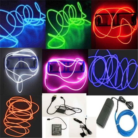 1M LED Light Glow Strip Lights EL Wire String Strip Rope Flexible Neon Tube Car Decorative N683 Dance Party&Controller Alternative Measures - Alternative Measures
