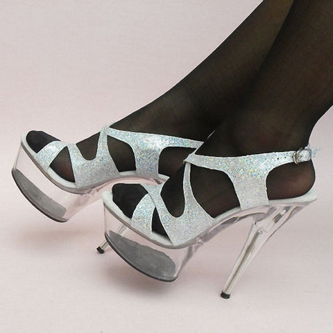 15cm Colorful Sexy High-Heeled Shoes Crystal Sandals Shoes 6 Inch Stiletto High Heels Clear Platforms Silver Glitter Sexy Shoes - Alternative Measures