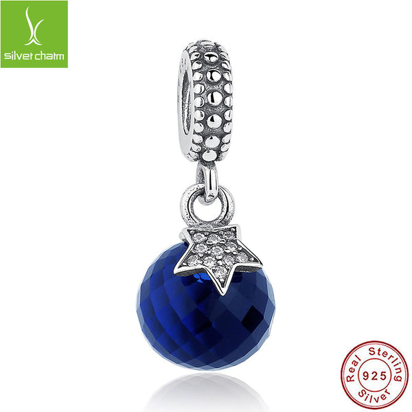100% Real 925 Sterling Silver Moon & Star Charm Blue Crystal Fit Original Pandora Bracelet Pendant Authentic Same Jewelry Gift ALX-SCJS - Alternative Measures
