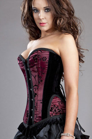 + Lowest price NEW Sexy Burlesque Petra Overbust Flock Corset LC5298 - Alternative Measures