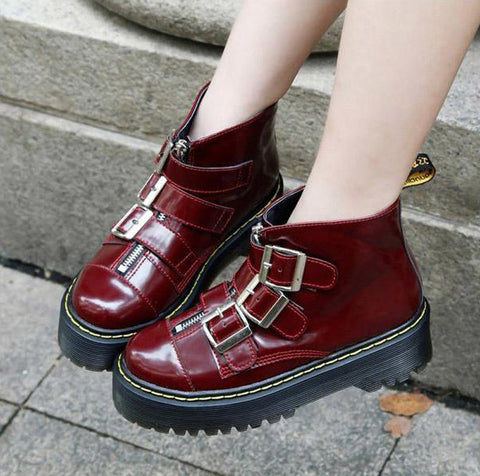 2 Color Women Ankle Boots Punk Dr Martins Boots Fashion AGGY 3 Buckle Thick Sole Boots Jouetie Casual Platform Ankle Boots Alternative Measures - Alternative Measures