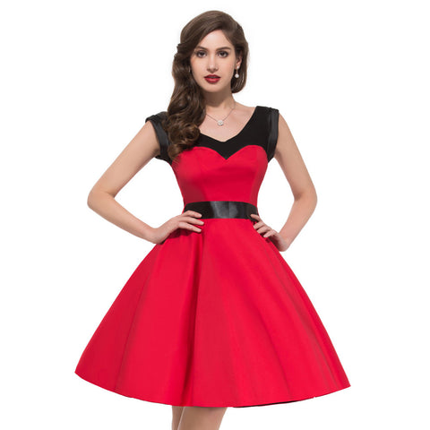 2014 Grace Karin Vintage 50s 60s Halter Polka Dot Swing Bunny Jive Rockabilly Dresses XS S M L XL CL4597 - Alternative Measures