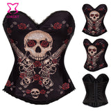 """Devil Hunter"" Rose and Skull Sexy Corset Bustier Tops Black Cotton Push Up Corsets and Bustiers Gothic Rave Korsett For Women - Alternative Measures"