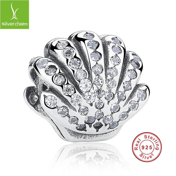 100% 925 Sterling Silver Ariel's Shell Charm With Clear CZ Fit Original Pandora Bracelet Necklace Authentic Luxury Jewelry ALX-SCJS ALX-SCJS - Alternative Measures