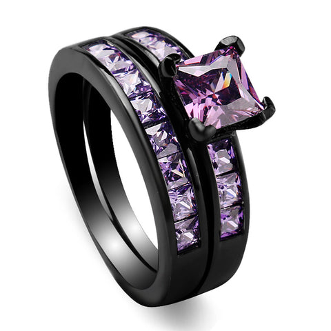 10KT Black Gold Filled Rings Set Anillos Bridal Sets Engagement Wedding Ring Set Bague Femme GEM Zircon Purple Crystal Ring Set Alternative Measures - Alternative Measures