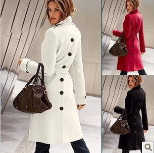 2014 new fashion Hot autumn winter European and American big yards cashmere wool coat Slim waist windbreaker jacket - Alternative Measures