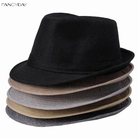 1pcs/lot Solid Color Hemp Cotton Material Man Party Fedora 5 Styles Availabe Trilby Hat DWT Alternative Measures - Alternative Measures