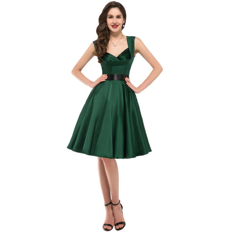 2015 Robes Femmes Luxury Satin V-Neck Sleeveless Short Party Dresses 50s 60s Robe Rockabilly Swing Vintage Pinup Dress 006030 Alternative Measures - Brides & Bridesmaids - Wedding, Bridal, Prom, Formal Gown - Alternative Measures