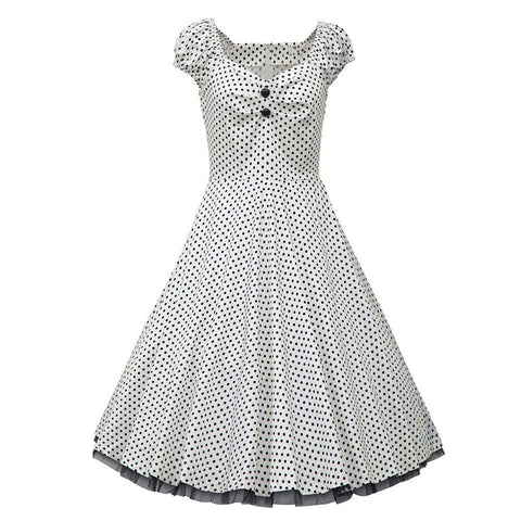 2015 Sweet Cute White Polka Dot Women Dresses Lace Knee Length Sleeveless Ball Gown Autumn Long Party Sexy Rockabilly Dress D137 - Alternative Measures