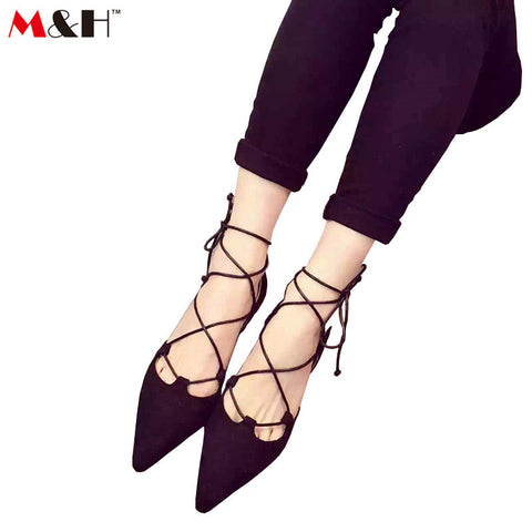 2016 New Spring and Summer Women Nubuck Leather Shoes Criss Cross Pointed Toe Flats with Ankle Strap Ladies Casual Flat Shoes - Alternative Measures