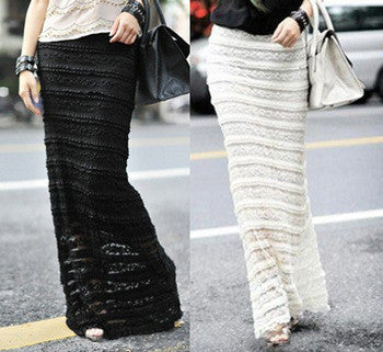 2014 Hot Sell Slim Women Romantic Long Skirt Lace Overlay Double-Layered Black Ivory Bodycon Fit Maxi Skirt Lace Skirt - Alternative Measures