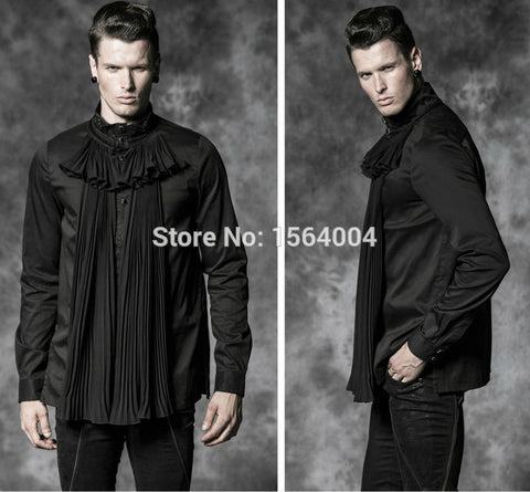 Gorgeous fold gothic Mens Shirt Punk Rave Black Cool Kera Top with jabot ruffles Alternative Measures - Alternative Measures