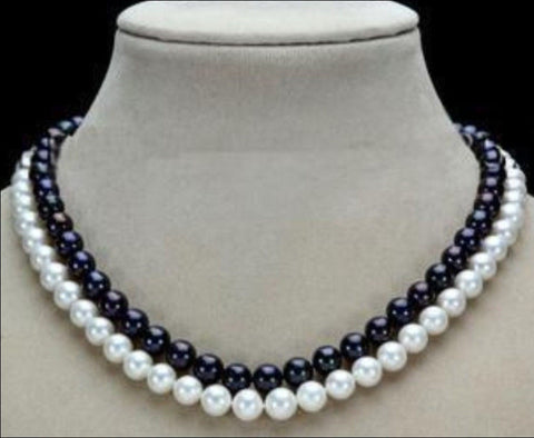 "2015 New Fashion Charming! 2 Row 7-8mm Black & White Freshwater Pearl Necklace 17-18"" Jewelry Design Wholesale and retail - Alternative Measures"