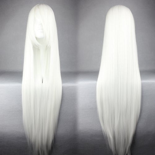 100cm Long Touhou Project-Fujiwara no Mokou White Cosplay Costume Wig Alternative Measures - Alternative Measures