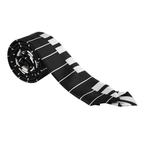1Pcs Fashion Uni Necktie Skinny Slim Narrow Neck Tie Black & White Piano Keyboard Pattern Music Ties Hot Selling - Alternative Measures
