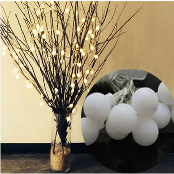 1 set Battery Christmas Plastic String Lights Event Lighting 2m 20 LED Ball Wedding Holiday Indoor Outdoor Decoration String Lights Event Lightinging White Alternative Measures - Alternative Measures