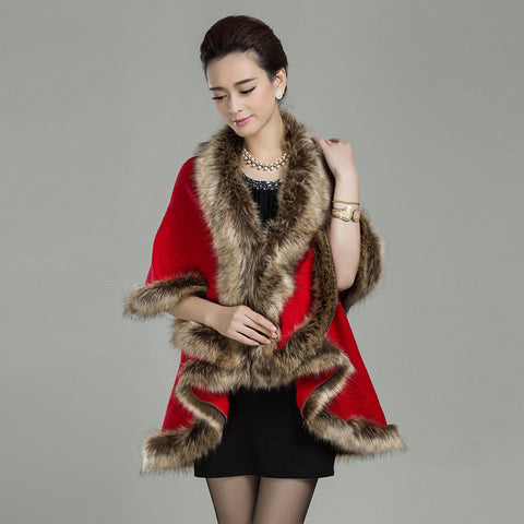 2015 new Imitation raccoon fur collar jacket knitted shawl women Long cardigan cape faux fur - Alternative Measures