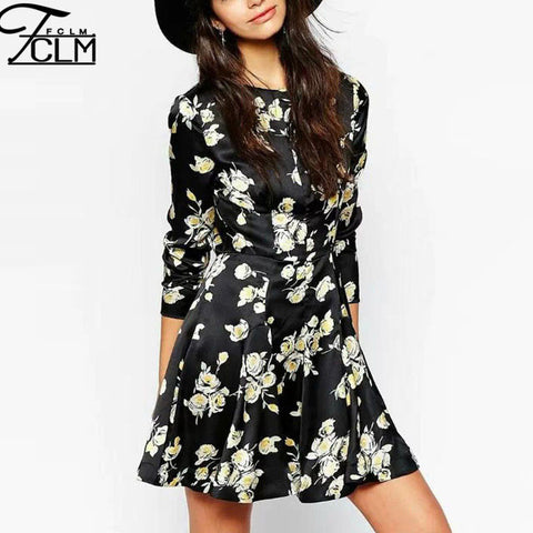 2015 Exclusive Fashion Retro Dress Black White Flower Printed Dress Temperament Boutique Evening Dress AH49 - Alternative Measures