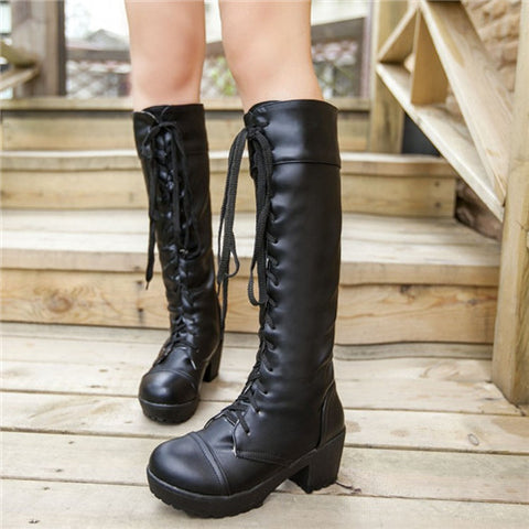 2015 Fashion Gothic Woman Round Toe Punk Lace-Up Chunky Mid Heels Platform Knee High Boots Riding Boots Shoes Plus Size Black Alternative Measures - Alternative Measures