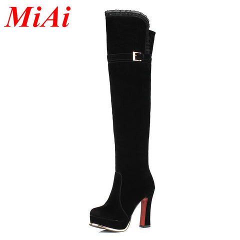 2015 autumn and winter fashion elegant lace knee high real leather high-heeled boots sexy woman warm boots women size 33-40 - Alternative Measures