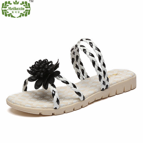 100% Woven by Hand 100% Woven by Hand PU Flat Sandals Women 2016 Summer Top Fashion Flat Heel Shoes Bohemia Ladies Slippers - Alternative Measures