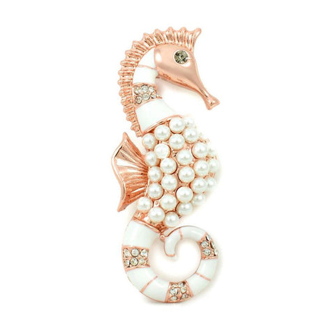 18k rose gold pearl Hippocampus brooch for women vintage classic noble wedding bouquet scarf pins brand UVOGUE Viennois jewelry Alternative Measures - Mother's Day Bride Wedding Gift - Alternative Measures