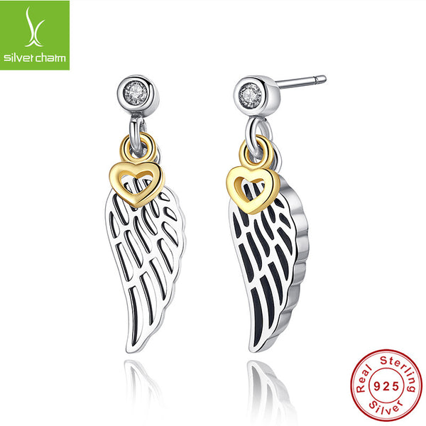 100% Pure 925 Sterling Silver Love & Guidance Feather Stud Earrings With 14K Gold Plated For Women Original Fine Jewelry Gift ALX-SCJS - Alternative Measures